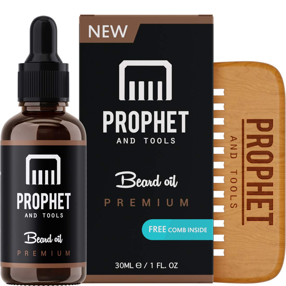 PREMIUM Unscented Beard Oil and Comb Kit for Thicker Facial Hair Grooming - The All-In-One Conditioner and Shampoo-like Softener, Shine and Fuller Beards & Mustache Growth Formula - NUTS-FREE & VEGAN For Men! Prophet and Tools product image