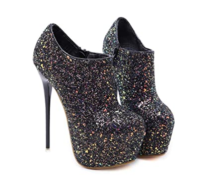 a0de0cd4270 Mamrar Pump 16Cm Stiletto Super High Heels Sexy Sequin Pointed Toe Ankle  Bootie Party Dress Shoes