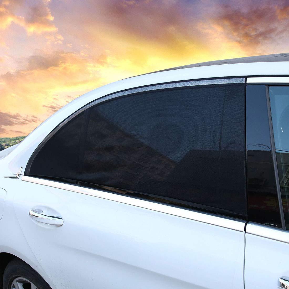Freahap Car Window Shade 2Pcs Slip-on Mesh Sunshade for Car Side Windows Car Sun Shades