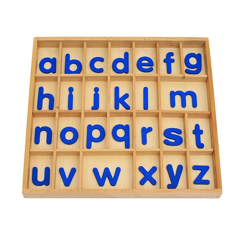 EOFEEL Montessori small Wooden Movable Alphabet with Box for Early Preschool Learning Toy(Blue)