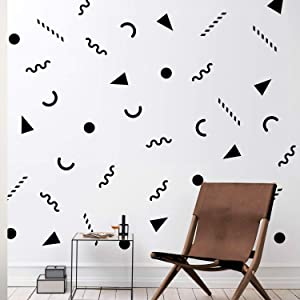 "Set of 25 Vinyl Wall Art Decal - 90's Patterns - 1.6"" to 6"" Each - Cool Minimal Adhesive Sticker Modern Geometric Design for Home Work Office Bedroom Living Room Store Decor"