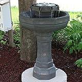 Sunnydaze 2-Tier Flowing Citadel Birdbath Fountain Solar on Demand Garden Fountain, 29 Inches, Includes Battery Pack