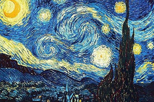 Wooden Jigsaw Puzzle - Starry Night by Vincent Van Gogh - 50 Unique Wooden Pieces - Made in The USA by Nautilus Puzzles - Challenge Any Puzzle Lover]()
