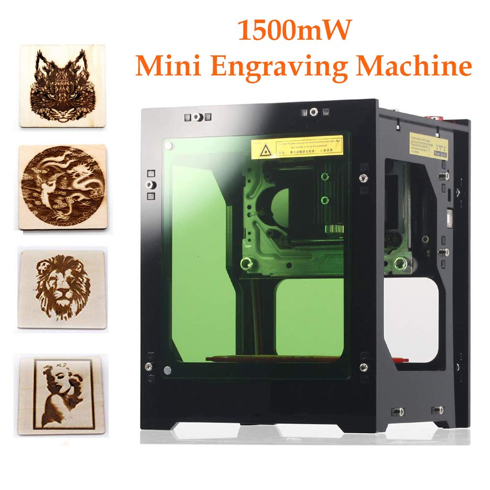 Laser Engraver Printer, 1500mW DIY USB Mini Engraving Machine, CNC Router Cutting Carver Off-line Operation for Art Craft Science, High Speed Laser Engraving Cutter by Tsemy (Image #1)