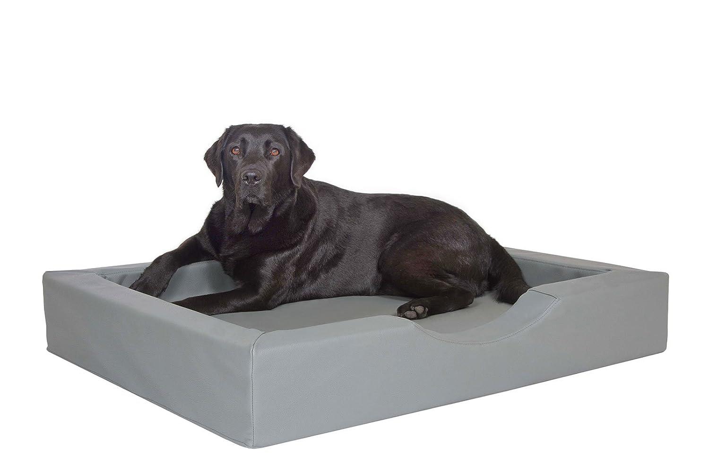 Hundekorb Grau, gesundes Komfort Luxus Hundebett Visco Schaumstoff in 3 Größen