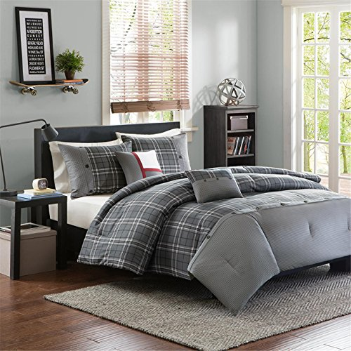 Gray Plaid Chet Multiple Piece Comforter Set Full/Queen 5pc