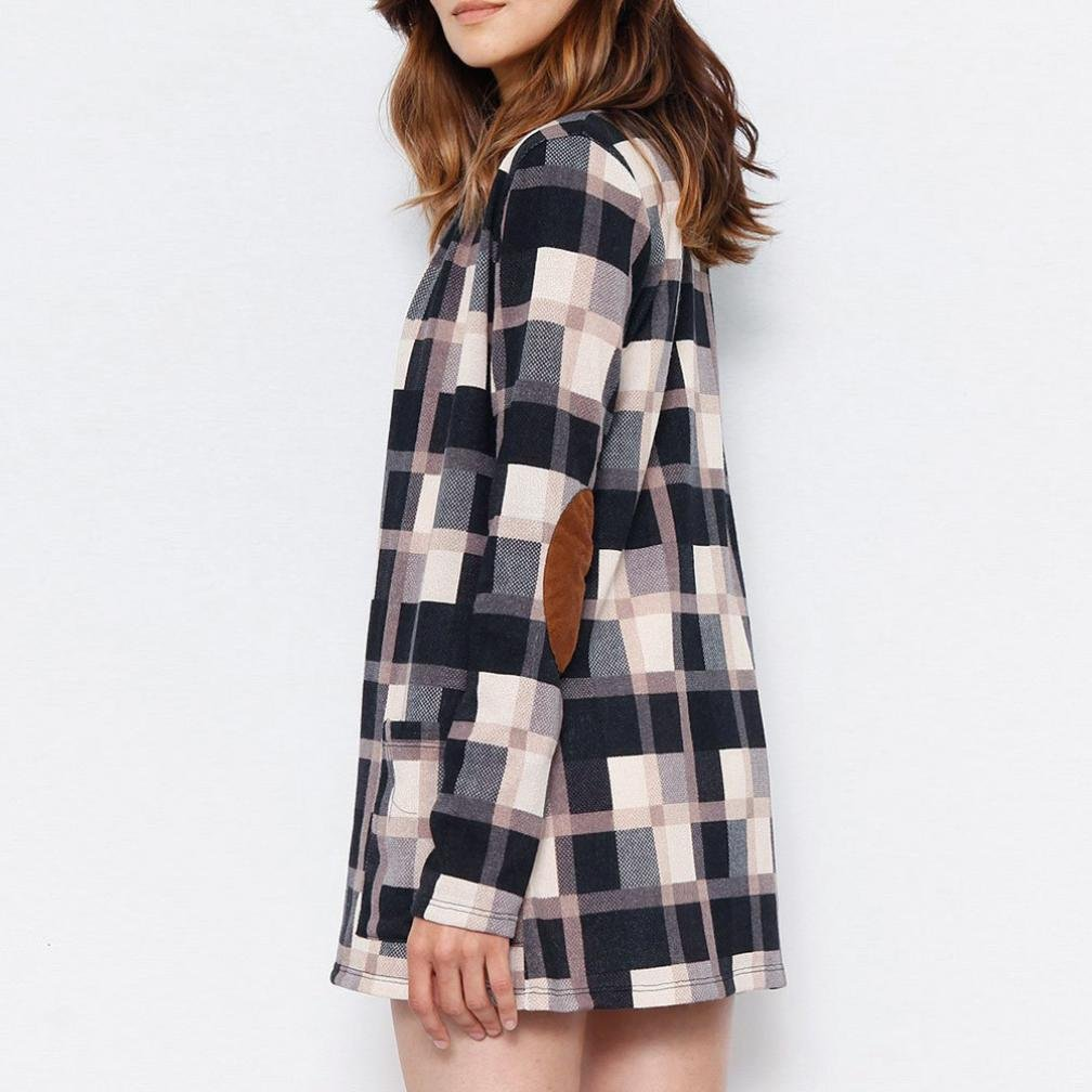 Pervobs Blouses, Big Promotion! Women Ladies Casual Plaid Long Sleeve Loose Shirts Cover Ups Cardigan Jacket Coat Outwear (XL, Khaki) by Pervobs Women Long-Sleeve Shirts (Image #3)