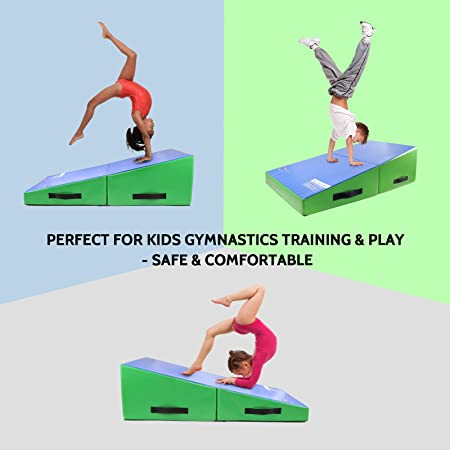 """Skill Training Multiple Colors Cheese Mat for Home Gym Exercise 48/""""x24/""""x14/"""" Folding Wedge for Kids Tumbling Kangaroo Hoppers Incline Gymnastics Mat"""