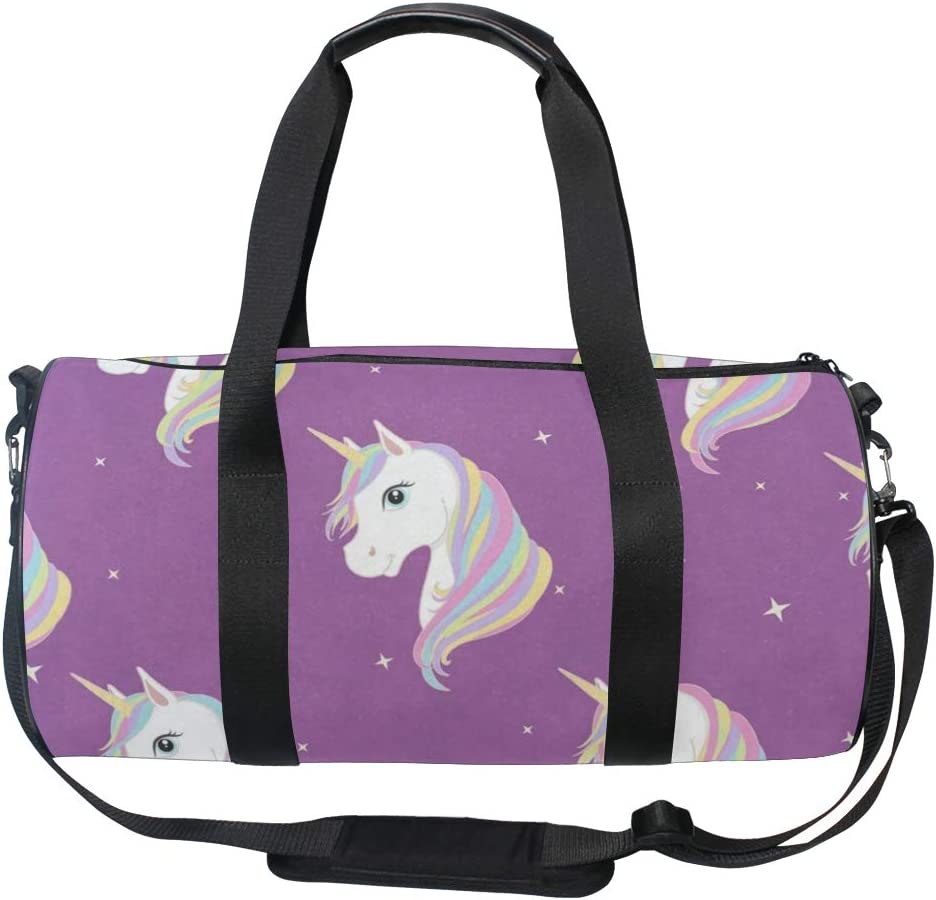 Gym Bag Purple Unicorn Women Canvas Duffel Bag Cute Sports Bag for Girls