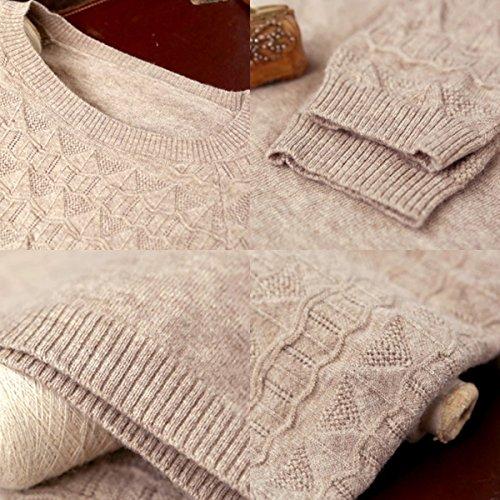 Artka Mujer Descenso delicado O-Neck Solid Loose jersey de lana sweater yb18131d caqui
