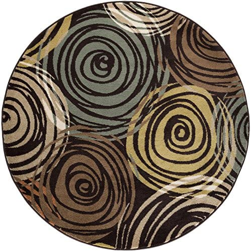 Joelle Contemporary Abstract Brown Round Area Rug, 8 Round