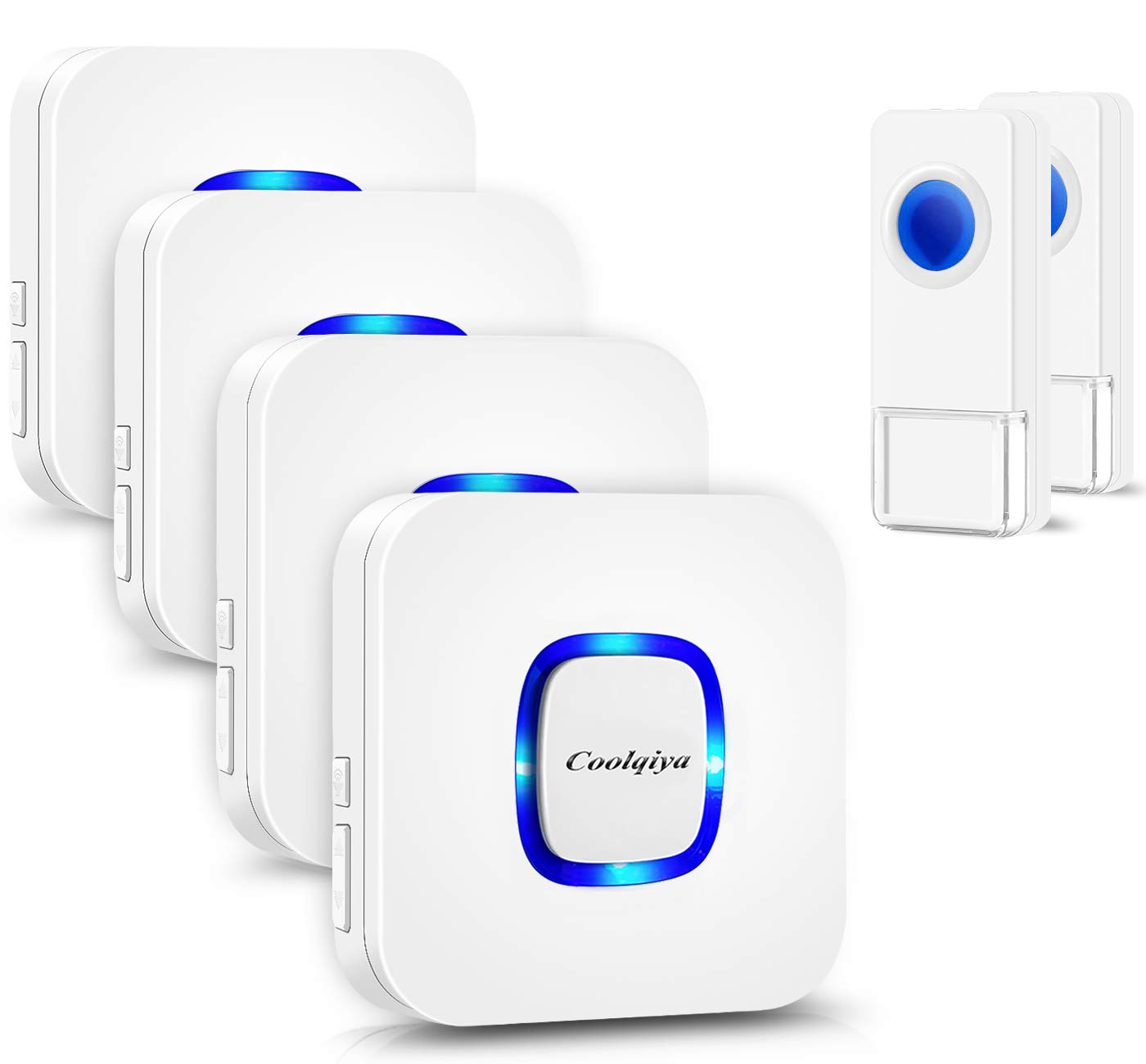 Wireless Doorbell Kit, Coolqiya Door Bell Chime with 2 Waterproof Transmitters and 4 Plug-in Receivers for Home with 52 Ring Tones