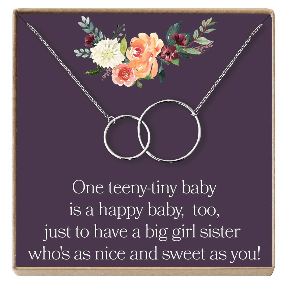 Dear Ava Big Sister Gift Necklace 2 Interlocking Circles Sisterhood Sister Birthday Gift Pledge Sorority Sister