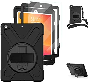 TSQ iPad 10.2 Case 2019 2020/iPad 7th 8th Generation Case with Screen Protector, Heavy Duty Shockproof Hard Rugged Protective Kids Case with Hand Strap/Stand/Shoulder Strap for iPad 7th 8th Gen, Black