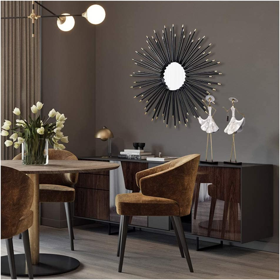 Round Wall Mirror Large Black Metal Frame Sunburst Shape Decorative Wall Mirror Living Room Dining Room Hallway Porch Hanging Mirror Black 50cm 19 7inch Home Kitchen