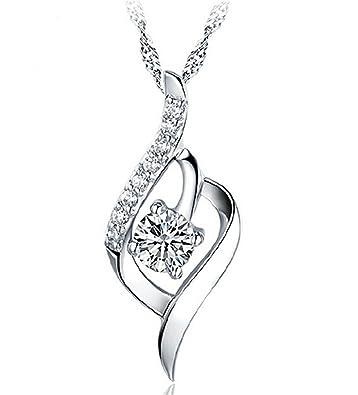 LnLyin 925 Sterling Silver Love Heart Diamond Crystal Pedant Necklace for Women bpBIME