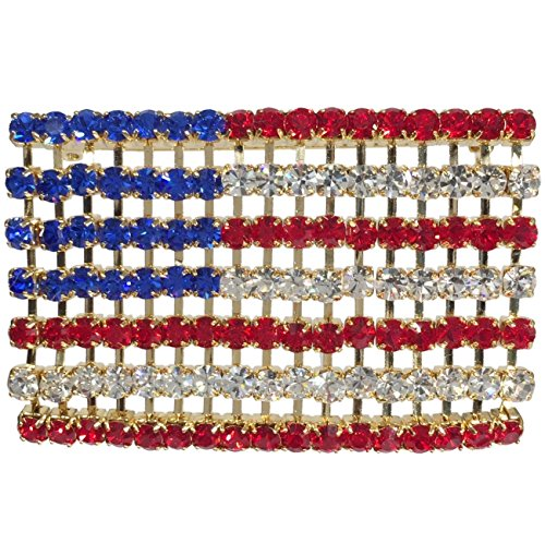 American Flag Large Red White & Blue Rhinestone Gold Tone Pin Brooch