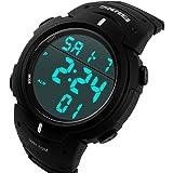 ufengke®sport nuoto impermeabile luminosi calendar timer sveglia orologio luce elettronica orologio da polso per uomini ragazzi-nero