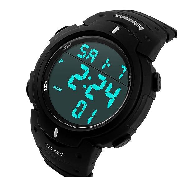 ufengke®deportes natación impermeable luminosa calendario temporizador alarma reloj luz electrónica reloj de pulsera para hombres niños-negro: Amazon.es: ...