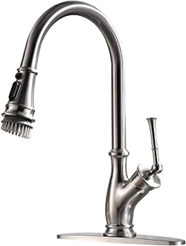 Modern Kitchen Faucets With Pull Down Sprayer Stainless Steel Single Handle Pull Out Spray Kitchen Sink Faucet With Deck Plate Brushed Nickel Amazon Com