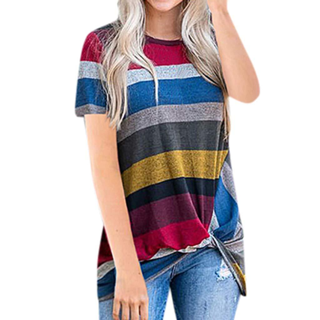 7194d8145040b Amazon.com: lotus.flower Women's Casual Stripe T Shirts Twist Knot ...