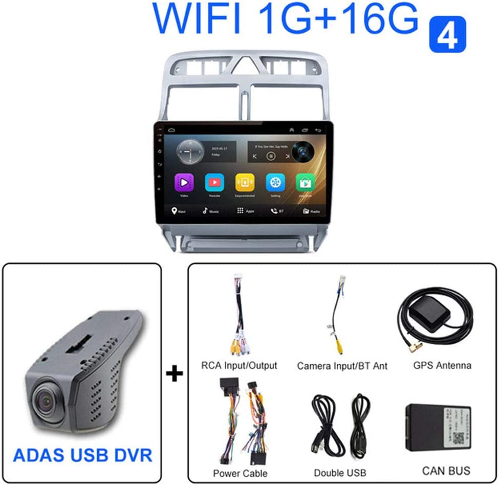 NBVNBV Android 9 Pantalla T/áctil Radio de Coche GPS Navegador Sistema Multimedia Ajuste para P-eugeot 307 307CC 307SW 2002-2013 Mapa C/ámara Trasera