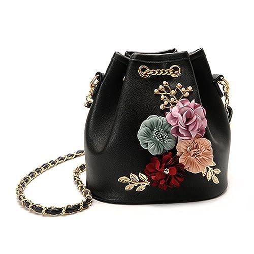Cugap Women Flower Handbag Shoulder Bags Purse Messenger Hobo Crossbody Tote  Bag (Black) c2199a118fbea