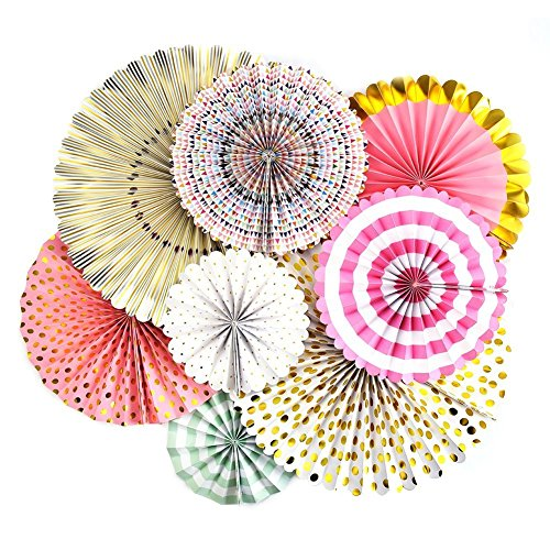 Monkey Home Trend Style Party Fans,8 Count, Pink, Aqua, White, and Gold