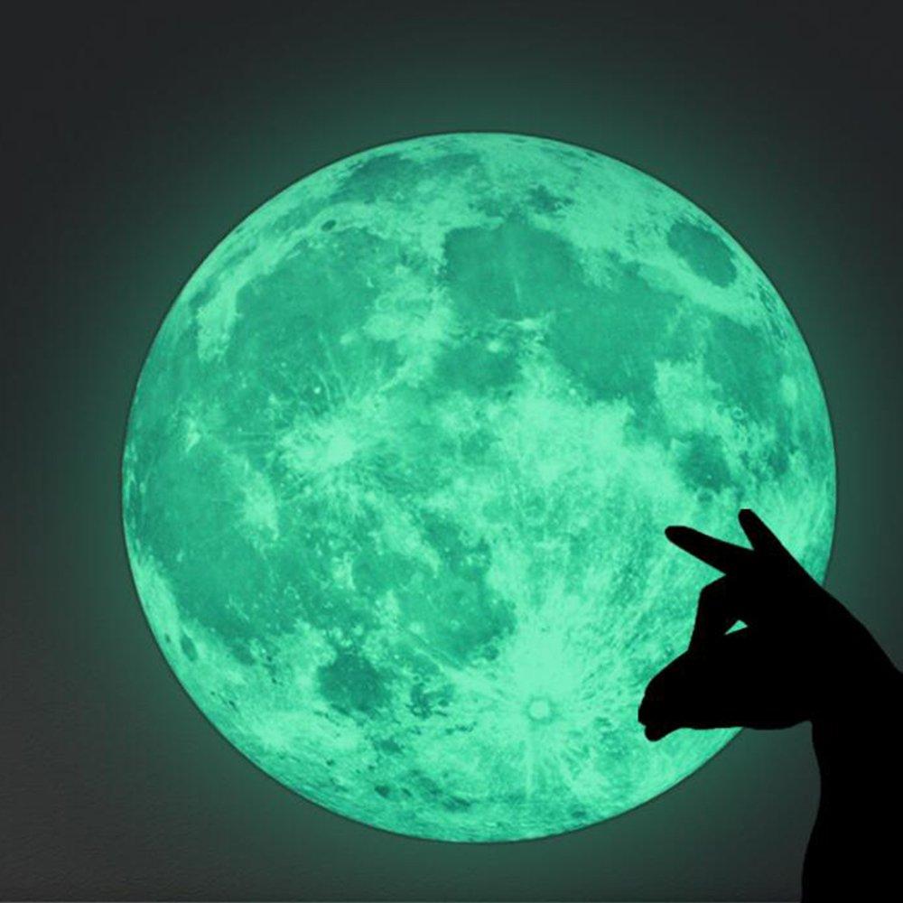 30cm Adesivo da Parete Motivo Luna Illuminano Al Buio, Cuitan Fai Da Te Decorazione Casa Arte Adesivo Murale Impermeabile Wall Sticker per Bambini Camera da Letto Cameretta Finestra Soggiorno, Verde