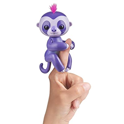 WowWee Fingerlings Interactive Baby Sloth Puppet, Marge (Purple): Toys & Games