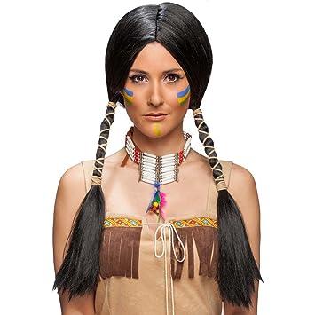 Coiffe de Carnaval Squaw Perruque Indienne Femme Noir Coiffure Longs  Cheveux Amérindienne Accessoire de déguisement pour