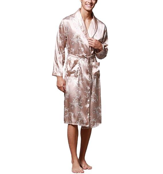 Pijamas De Seda De Manga Larga Para Hombre Pijamas De Chándal De Chándal Estampados Chinos,