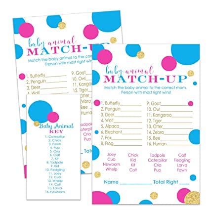 Amazon Com Gender Reveal Party Games Baby Shower Animal Match Up