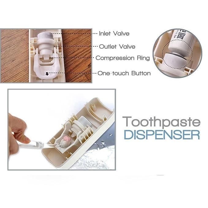 Novias manos libres dispensador de pasta de dientes pasta de dientes automático Exprimidor y cepillo de dientes Holder Set para 5 cepillos: Amazon.es: Hogar