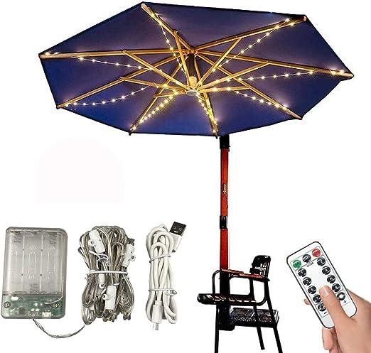 Iluminación para sombrilla de jardín, guirnalda de luces LED para sombrilla, guirnalda de luces de parasol-lighting IP68, para sombrilla decorativa, tiras de luz LED (8 cuerdas, 1,3 m x 3000 K): Amazon.es: Iluminación