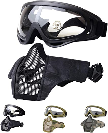 Airsoft Mask Tactical Foldable Half Face Gray Protective Mesh for Paintball US