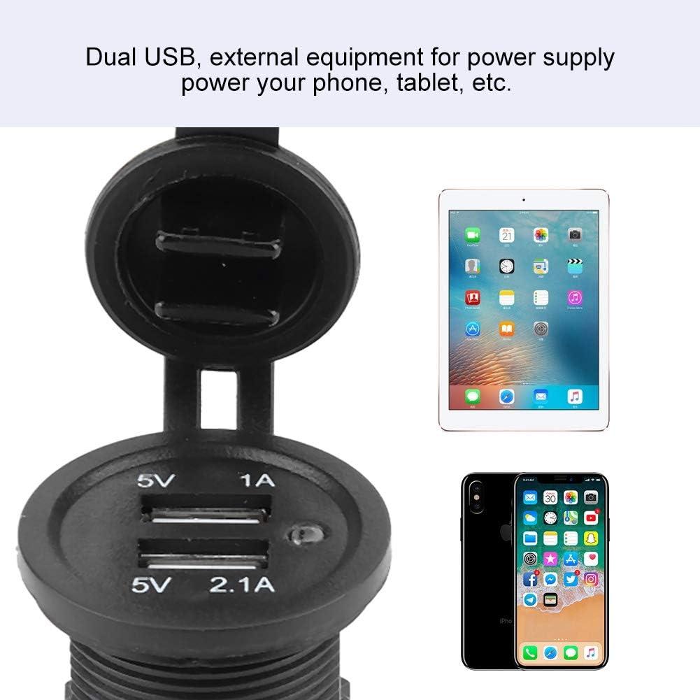 Prise de Charge de Voiture Rapide,EBTOOLS Chargeur de Modification USB 3.1A Double USB Noir pour Camion de Caravane de Moto de Bateau