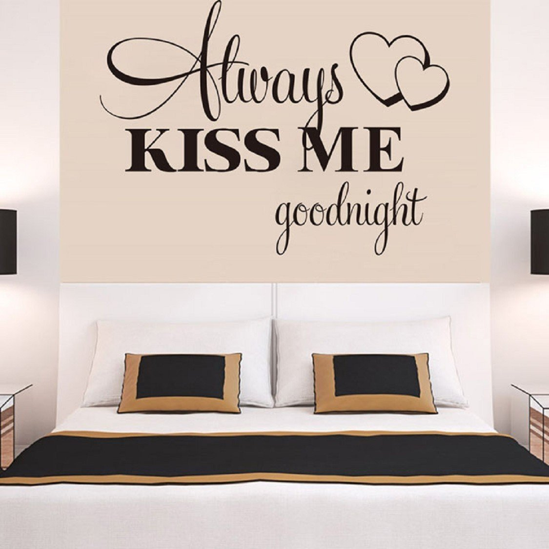 Wall Stickers, Ikevan Always Kiss Me Goodnight Wall Sticker PVC Decal Home Bedroom Living Room TV Setting Wall Sticker Romance Home Decoration 57x42cm