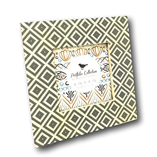 Sheffield Home Picture Frame Aztec Geometric Gray Ivory Square Laminate 4 X 4