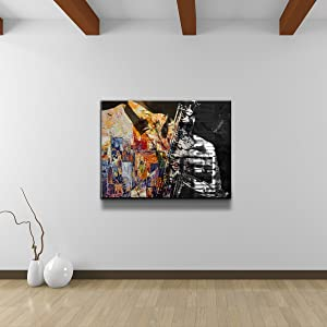 "Ready2HangArt Color of Jazz II Oversized Abstract Modern Contemporary Canvas Wall Art Print, 30"" x 40"", Black, White, Yellow, Blue"
