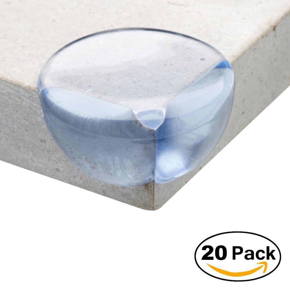 ATA® Safety Corner Protectors Guards - (20 pcs, Large, Transparent) - Table Worktop Corner Cushions for Child and Baby - Keeps children safe from injury around the house! AllThingsAccessory® Gel Corner Guards x20