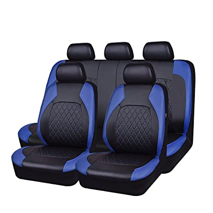 HORSE KINGDOM Universal Car Seat Covers Faux Leather Full 11 Pcs Airbag Compatible Breathable