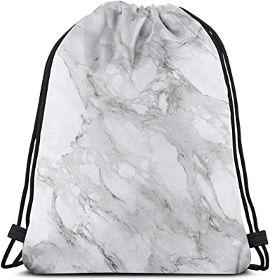 Drawstring Backpack White Moroccan Marble Shoulder Bags
