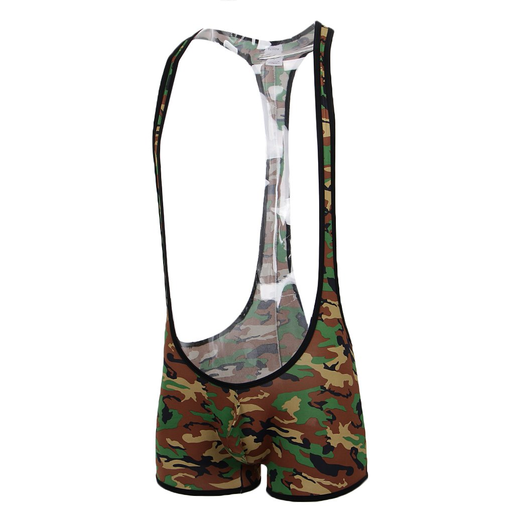 Homyl Mens Camouflage Bodysuit Wrestling Singlet Jumpsuit Boxers Shorts Underwear One Piece Leotard Lingerie Tights - Green, S