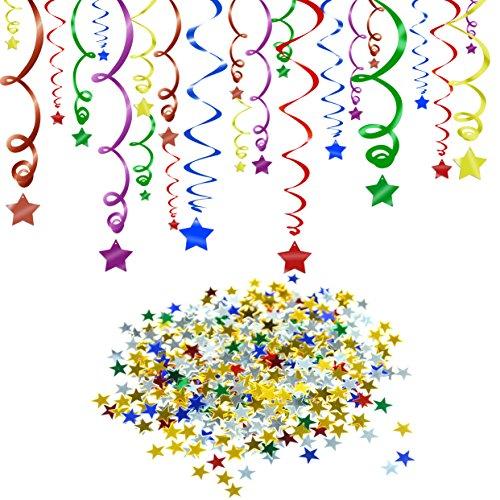 Konsait Multi couleur anniversaire Suspensions Décoration Guirlande à Spirales (24pcs) & Rainbow Étoiles Table Confettis (15 Gram) pour enfant anniversaire Décorations de fêtes mariage