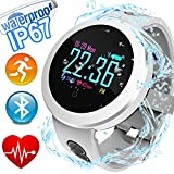 Fitness Tracker with Heart Rate Blood Pressure Monitor IP68 Waterproof HR Activity Tracker with Calorie Counter Summer Pedometer Sleep Monitor GPS Tracker for Outdoor Swim Men Women Android iPhone