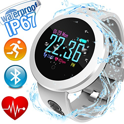 Fitness Tracker with Heart Rate Blood Pressure Monitor IP68 Waterproof HR Activity Tracker with Calorie Counter Summer Pedometer Sleep Monitor GPS Tracker for Outdoor Swim Men Women Android iPhone by Woqoo