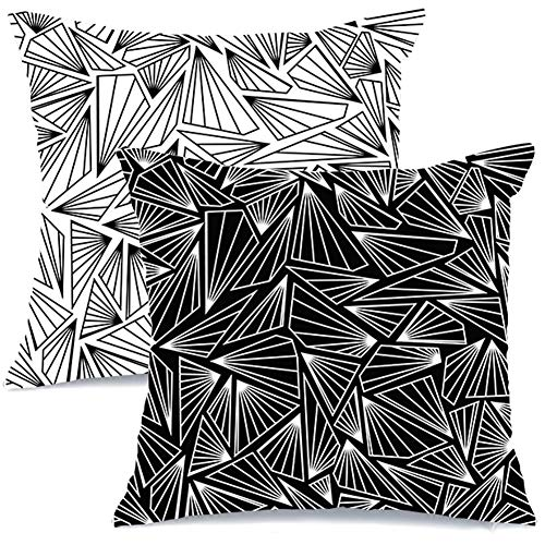 (AENEY Modern Decorative Throw Pillow Covers 18x18 Set of 2 for Couch Sofa Bed Unique Geometric Design Home Decor Black and White Throw Pillows)