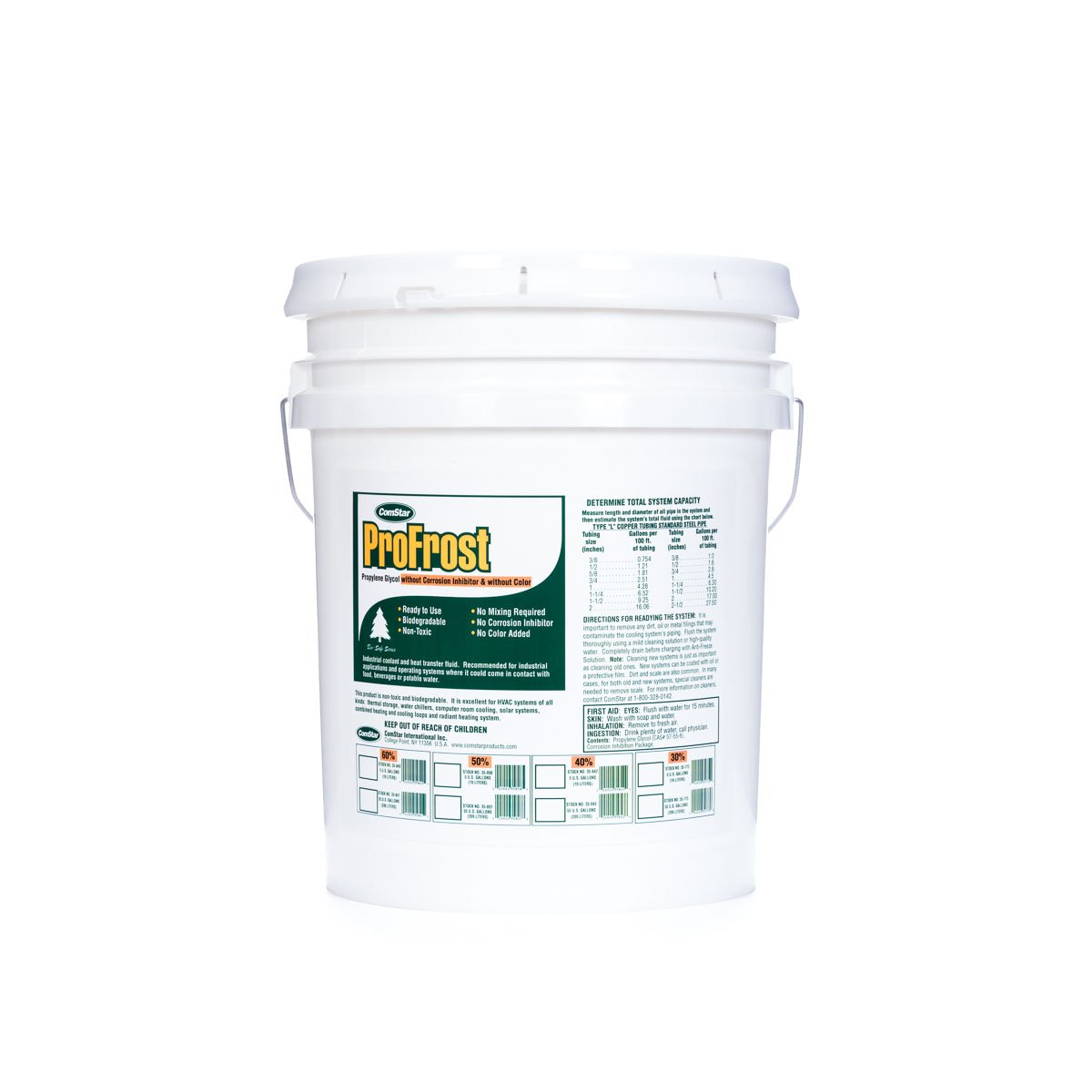 ComStar 35-772 ProFrost Chiller/Anti Freeze/Heat Transfer Fluid without Corrosion Inhibitor and Color, 30% Solution Ratio, 5 gal Pail, Clear