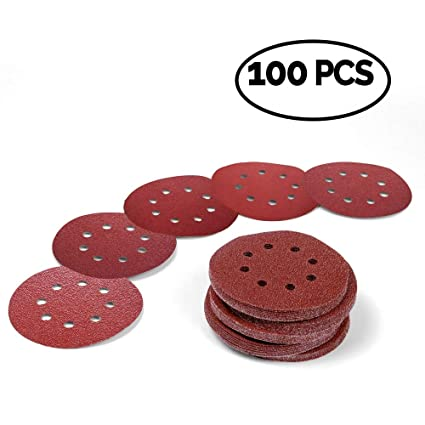 Back To Search Resultstools Collection Here 100pcs 125mm Hook & Loop Abrasive Sand Paper 5 Inch Red Sanding Disc With 8 Holes Grits 60~2000 Available